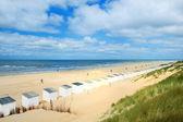 Blue beach huts at Texel — Stock Photo