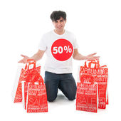 Happy with sale — Stock Photo