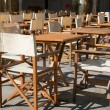 Terrace with tables and chairs — Stock Photo