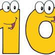 Number Ten Cartoon Character — Stock Photo