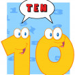 Number Ten With Speech Bubble - Stock Photo