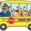Happy Children On School Bus - Stock Photo