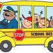 Happy Children On School Bus - Stockfoto