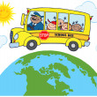 School Bus Around Earth — Stock Photo