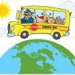 School Bus Around Earth - Stock Photo