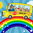 School Bus Around Rainbow - Stock Photo