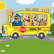 School Bus  With Happy Children - Stock Photo