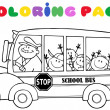 Coloring Page School Bus With Children — Stock Photo #12492453