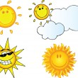 Different Sun Cartoon Characters — Stock Photo #12492509