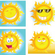 Different Sun Cartoon Characters — Stock Photo