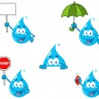 Water Drop Cartoon Mascot Characters — Stock Photo