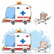 Doctor Running With A Syringe From Ambulance - Stock Photo