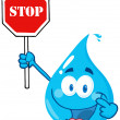 Royalty-Free Stock Photo: Water Drop Character Holding A Stop Sign