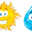 Sun And Water  Cartoon Characters — Stock Photo