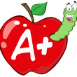 Worm In Red Apple With Letter A + — Stock Photo