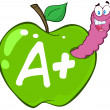 Worm In Green Apple With Letter + — Stockfoto #12493112