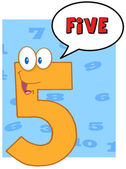 Happy Number Five With Speech Bubble — Stock Photo