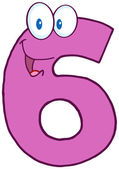 Number Six Cartoon Character — Stock Photo