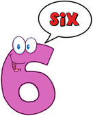 Happy Number Six With Speech Bubble — Stock Photo