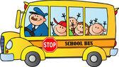 School Bus With Happy Children — Stock Photo