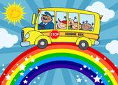 School Bus Around Rainbow — Stock Photo