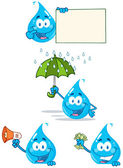Water Drop Cartoon Characters — Stock Photo