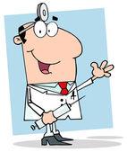 Happy Doctor Holding Syringe — Stock Photo