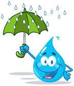 Şemsiye ile gülümseyen su damlası — Stok fotoğraf