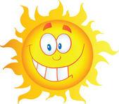 желтый sun мультипликационный персонаж — Стоковое фото