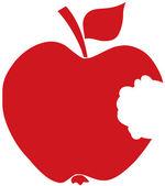 Silueta de manzana mordida rojo — Foto de Stock