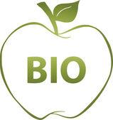 Zelené jablko a textem bio — Stock fotografie