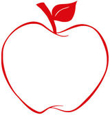 Apple With Red Outline — Stock Photo