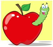 Smiling Worm In Red Apple — Stock Photo
