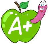 Worm In Green Apple With Letter A + — Stock Photo