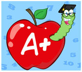 Worm In Red Apple With Graduate Cap — Stock Photo