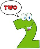 číslo dvě vtipné maskot charakter — Stock fotografie