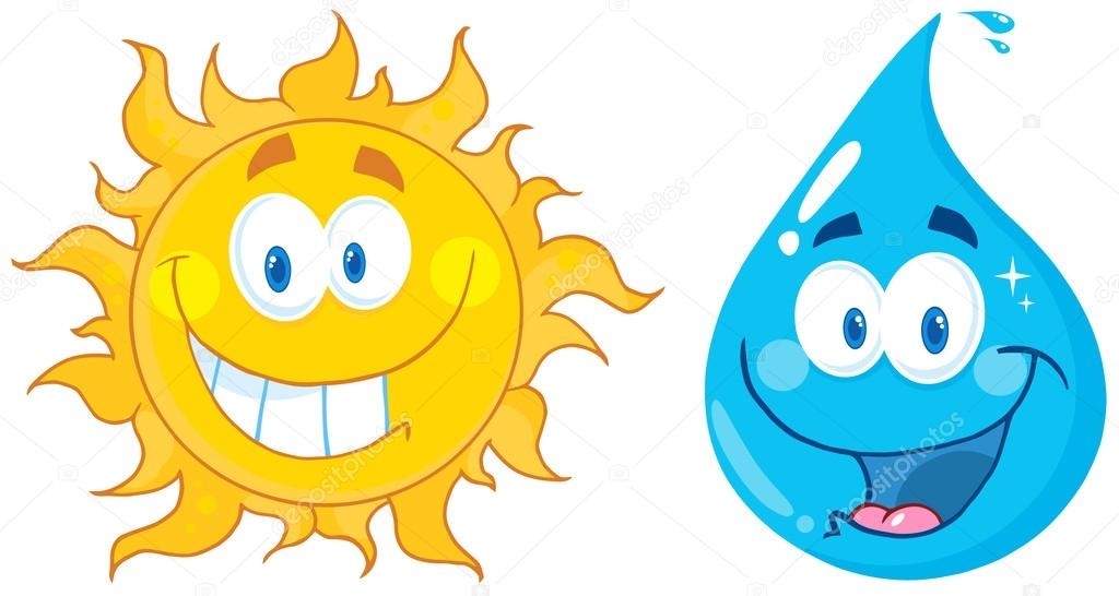Illustration Of Happy Sun And Water  Cartoon Characters — Stock Photo #12492644
