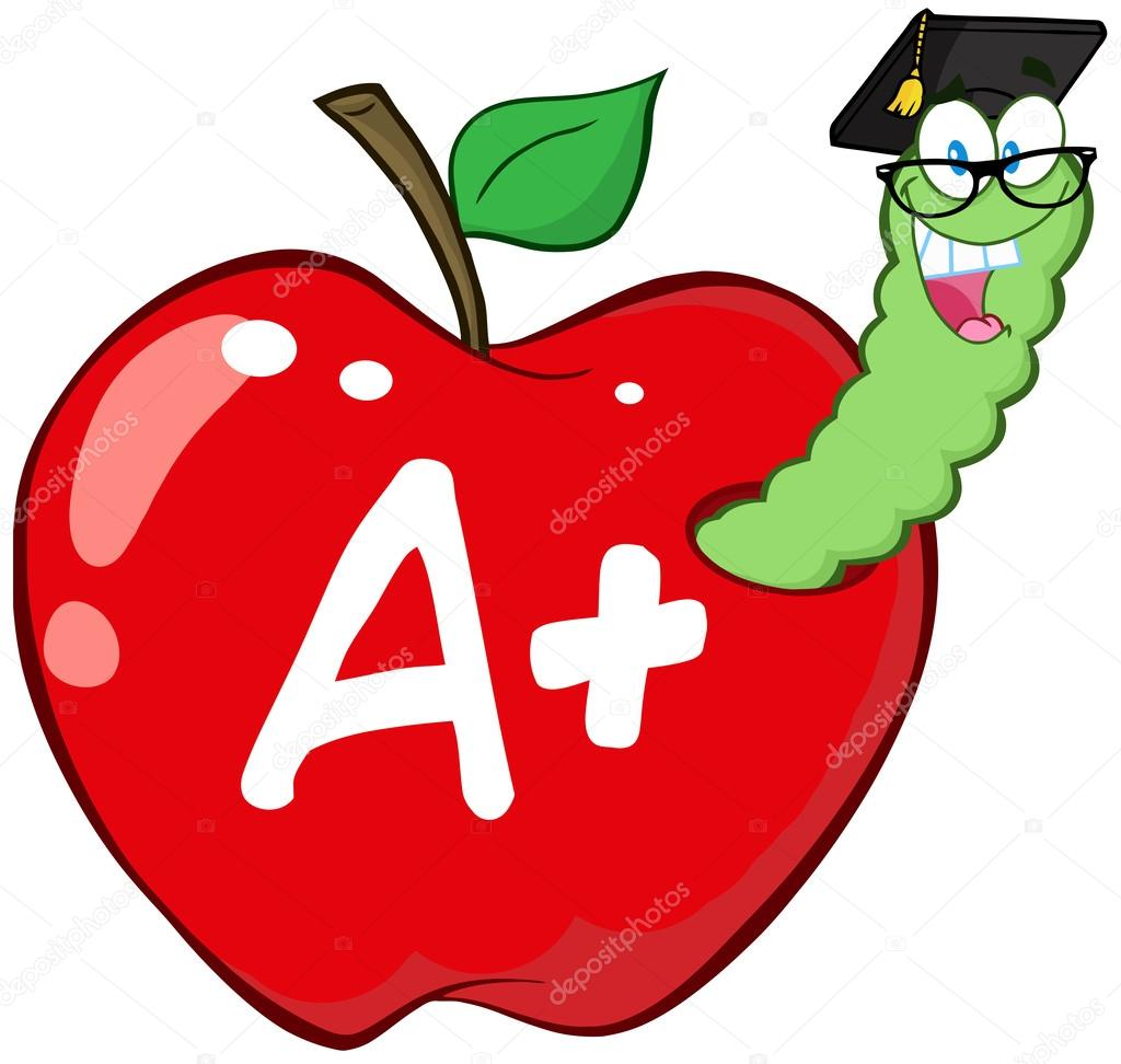 Worm In Red Apple With Graduate Cap,Glasses And Letter A+   Stock Photo #12493120