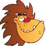 Lion Head Cartoon Mascot Character — Stock Photo