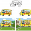 School Bus With Happy Children Cartoon Characters — Stock Photo #12728368