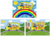 School Bus With Happy Children .Collection — Stock Photo