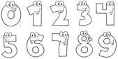 Outlined Funny Numbers Cartoon Characters — Stock Photo