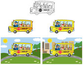 School Bus With Happy Children Cartoon Characters — Stock Photo