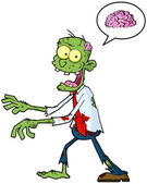 Cartoon Zombie Walking With Hands In Front And Speech Bubble With Brain — Stock Photo