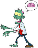 Blue Zombie Walking With Hands In Front And Speech Bubble With Brain — Stock Photo