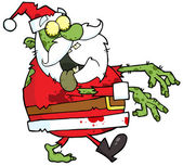 Santa Zombie Walking With Hands In Front — Stock Photo