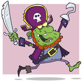 Pirate Zombie Cartoon Character — Stock Photo