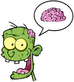 Zombie Head And Speech Bubble With Brain — Stock Photo