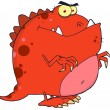 Red Dinosaur Cartoon Character — Stockfoto