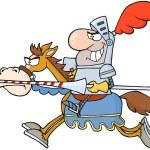 Happy Knight Riding Horse — Stock Photo